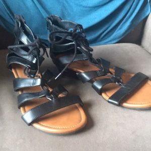 Black Lace-up Wedge Sandals